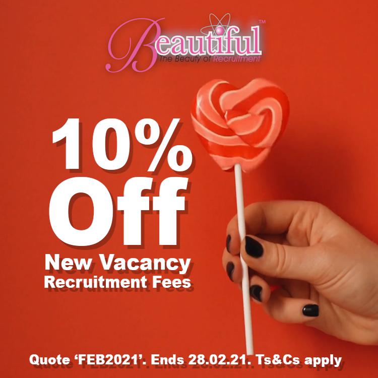 10 Percent off New Registered Vacancies in Feb 2021